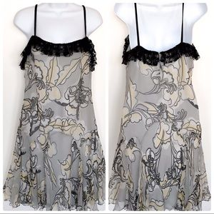 Milly gray & yellow silk & lace floral dress SZ 8